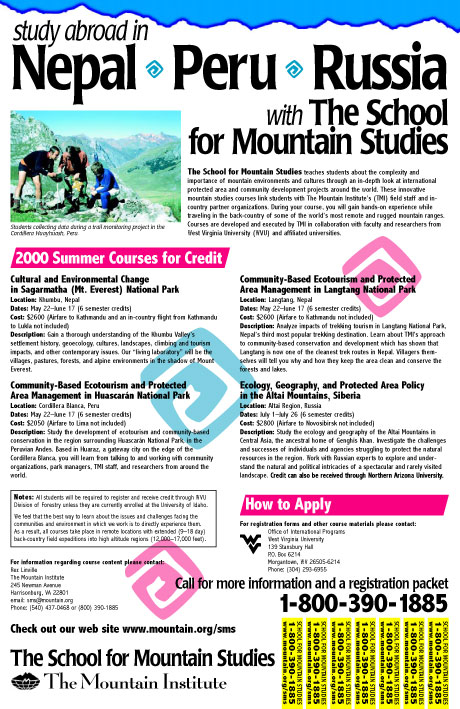 School for Mountain Studies poster